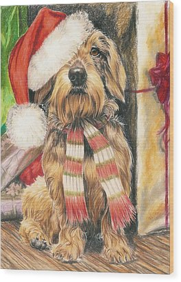 Wood Print featuring the drawing Santas Little Yelper by Barbara Keith