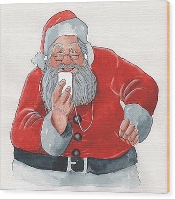 Santa's New Ipod Wood Print by Don Pedicini