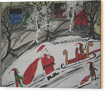 Wood Print featuring the painting Santa's Work Is Done  by Jeffrey Koss