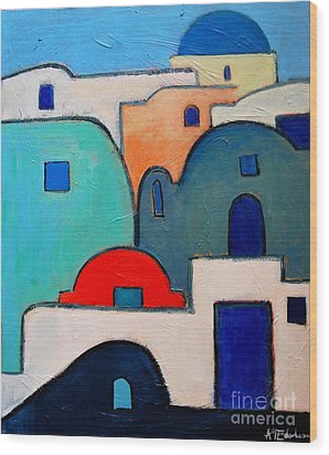 Santorini Cityscape Wood Print by Ana Maria Edulescu