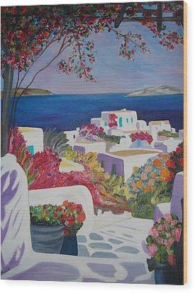 Santorini Wood Print by Dorota Nowak
