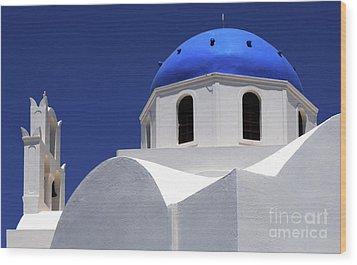 Santorini Greece Architectual Line 2 Wood Print by Bob Christopher