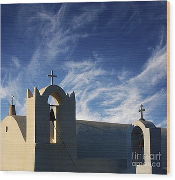 Wood Print featuring the photograph Santorini Greece Architectual Line 3 by Bob Christopher