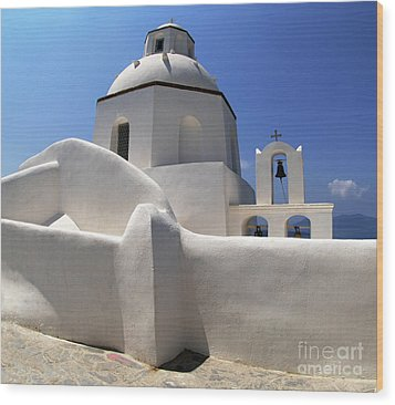 Wood Print featuring the photograph Santorini Greece Architectual Line 4 by Bob Christopher