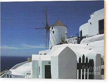 Santorini Greece Architectual Line 5 Wood Print by Bob Christopher