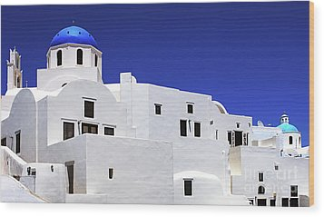 Wood Print featuring the photograph Santorini Greece Architectual Line 6 by Bob Christopher