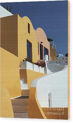 Santorini Greece Architectual Line Wood Print by Bob Christopher