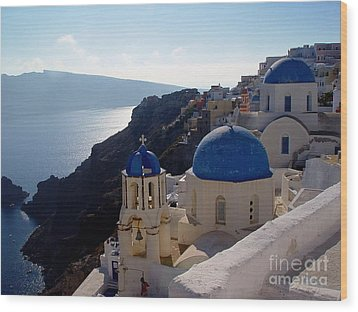 Santorini Greece Wood Print by Nancy Bradley