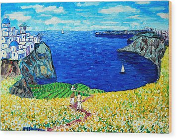 Santorini Honeymoon Wood Print by Ana Maria Edulescu