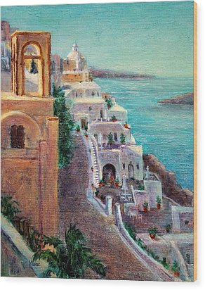 Hotels Of Santorini Wood Print
