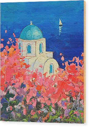 Santorini Impression - Full Bloom In Santorini Greece Wood Print