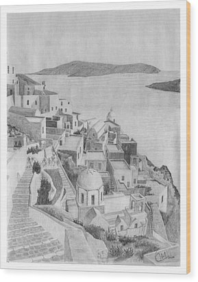 Santorini Sketch Wood Print