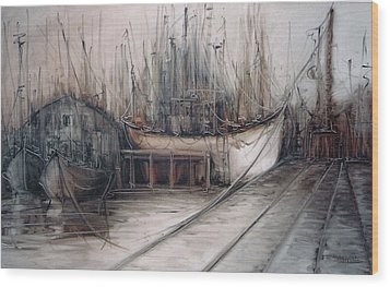 Santos Harbour Wood Print by Fatima Stamato