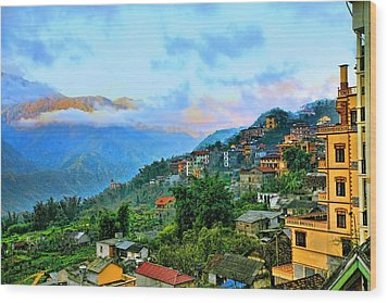 Sapa Village Wood Print by Chuck Kuhn
