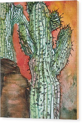 Saquaros Wood Print by Mindy Newman