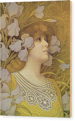 Sarah Bernhardt Wood Print by Paul Berthon