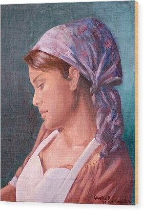 Sarah The Kitchen Maid  After Johnnie Liliedahl Wood Print by Quwatha Valentine
