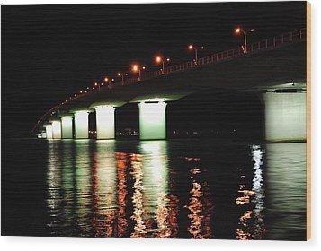 Sarasota Longboat Key Bridge Wood Print by Amanda Vouglas