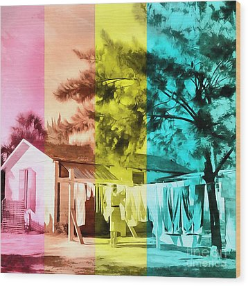 Wood Print featuring the painting Sarasota Series Wash Day by Edward Fielding
