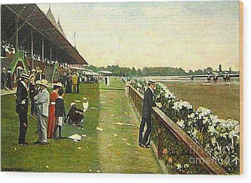 Saratoga Racetrack And Grandstand In 1905 Wood Print