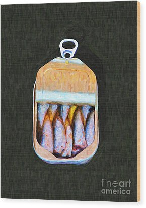 Sardines In Tin Can Wood Print by Wingsdomain Art and Photography