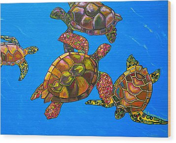 Sarrah's Sea Turtles Wood Print by Patti Schermerhorn
