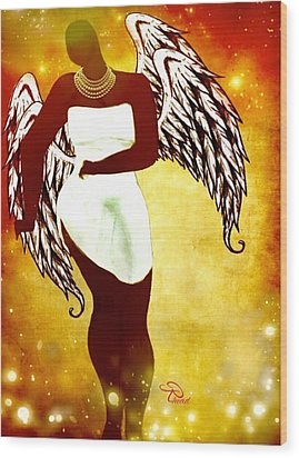 Sassy Angel Wood Print by Romaine Head