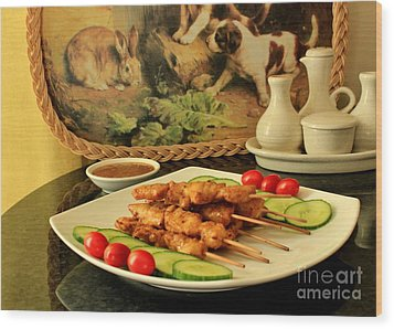 Satay Chicken Wood Print