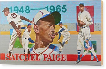 Wood Print featuring the painting Satchel Paige by Cliff Spohn