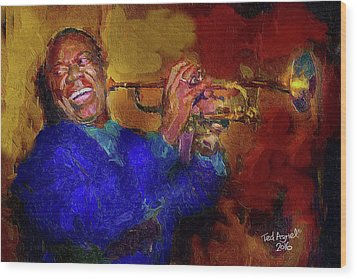Satchmo Wood Print by Ted Azriel