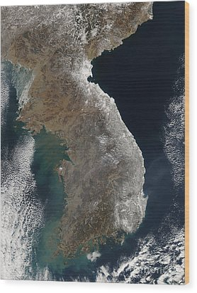 Satellite View Of Snowfall Along South Wood Print by Stocktrek Images