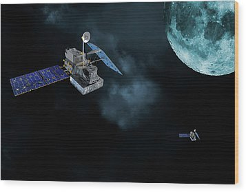 Wood Print featuring the photograph Satellites In Orbit Around The Moon by Christian Lagereek