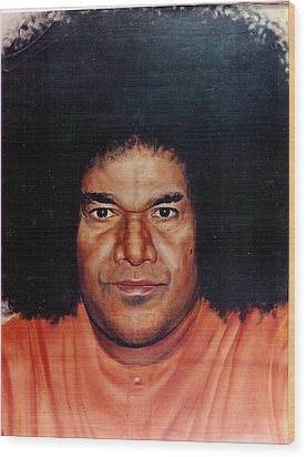 Sathya Sai Baba- Full Face Wood Print by Anne Provost