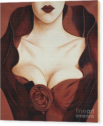 Satin Rose Wood Print by Lawrence Supino