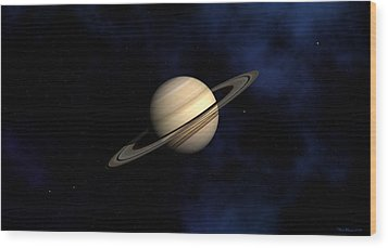 Wood Print featuring the digital art Saturn by David Robinson