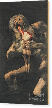Saturn Devouring One Of His Children  Wood Print by Goya
