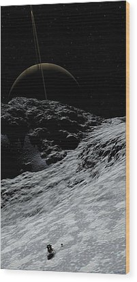 Wood Print featuring the digital art Saturn From Prometheus by David Robinson