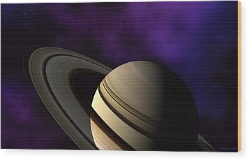 Wood Print featuring the digital art Saturn Rings Close-up by David Robinson