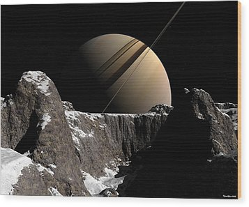 Wood Print featuring the digital art Saturn Rise by David Robinson