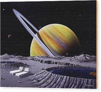 Saturn Spa Wood Print by Snake Jagger