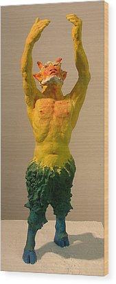 Satyr Prayer Wood Print by Gary Kaemmer