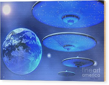 Saucers Wood Print by Corey Ford