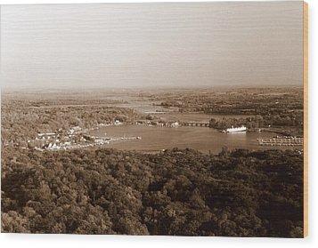 Saugatuck Michigan Harbor Aerial Photograph Wood Print by Michelle Calkins