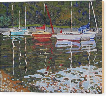 Saugeen Sailboats Wood Print by Phil Chadwick