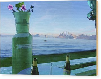 Sausalito Cafe Wood Print by Michael Cleere