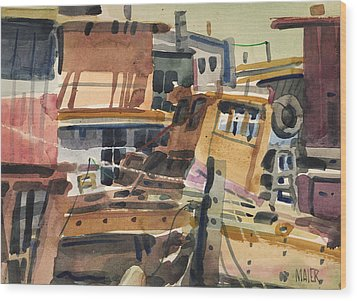 Sausalito House Boats Wood Print by Donald Maier