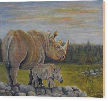 Savanna Overlook, Rhinoceros  Wood Print