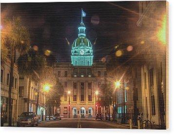 Savannah City Hall Wood Print