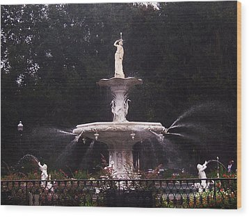 Savannah Fountain Wood Print by Kim Zwick