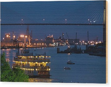Savannah Harbor At Night Wood Print by Leslie Lovell